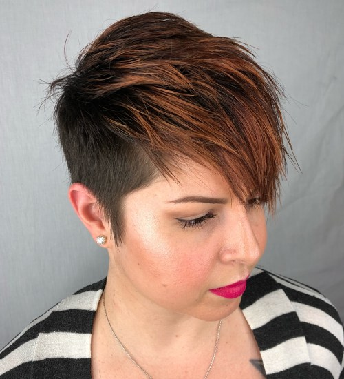 Spiky windswept fringe with copper highlights