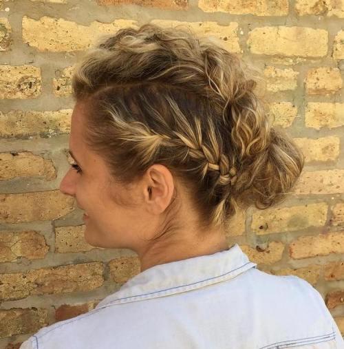 Three braids and bun updo