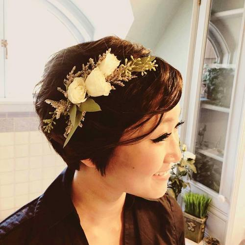 Tousled long pixie hairstyle for prom