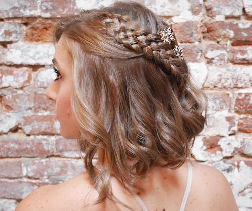 Wavy bob with a fourstrand braid for prom