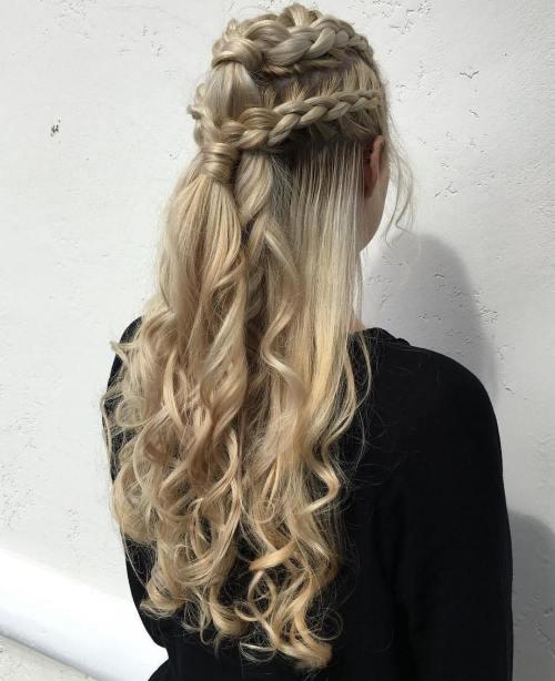 Blonde half updo with dutch braids