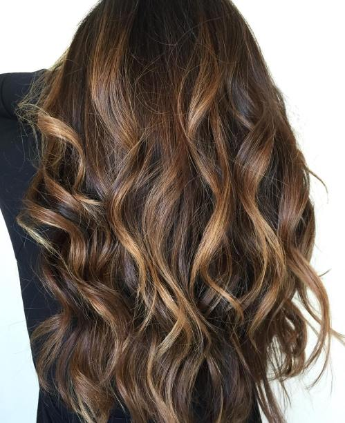 Caramel highlights for dark hair