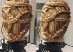 Crisscross braided updo