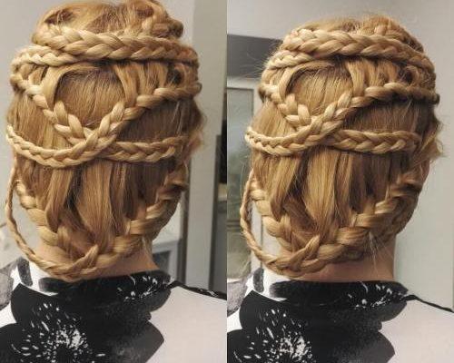 Crisscross braided updo
