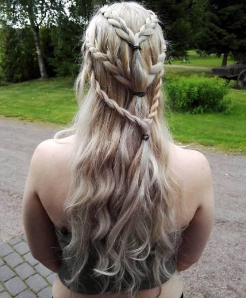 Daenerys tripple braids hairstyle