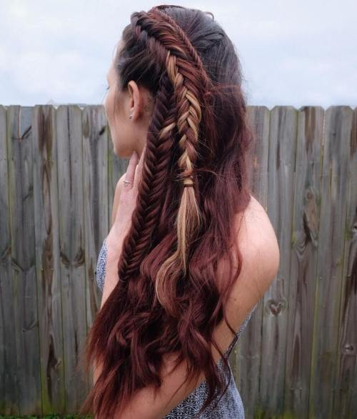 Long side fishtail braids