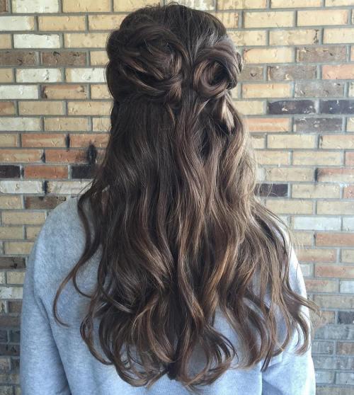 Looped half up half down hair