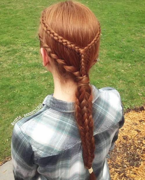 Low braided ponytail