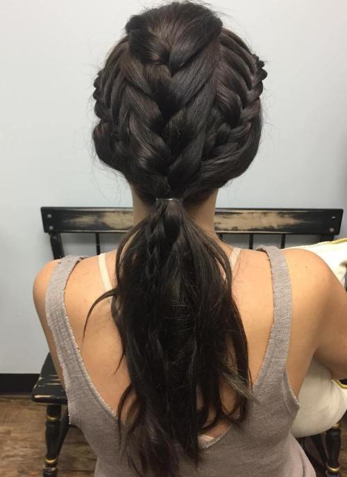 Low ponytail with tripple braids