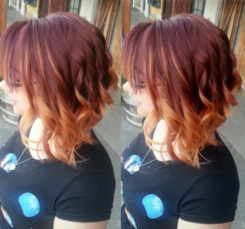 Marsala to strawberry blonde ombre