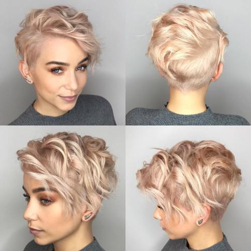 Short wavy halfshaved cut