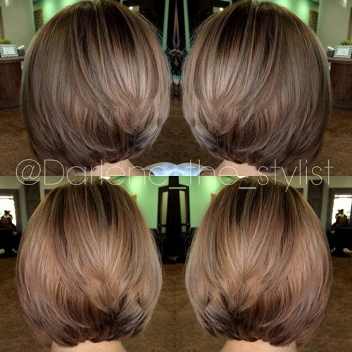 Stacked ashy blonde cut