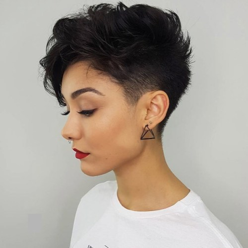 Wavy tapered brunette pixie