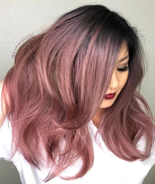 metallic rose gold hair