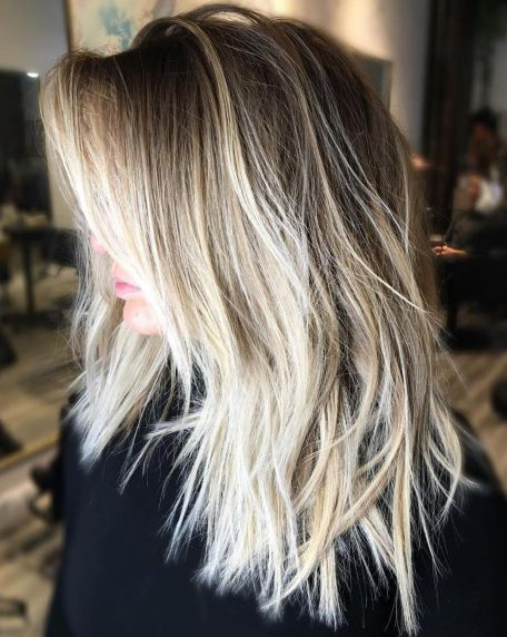 Blonde balayage shag for long hair