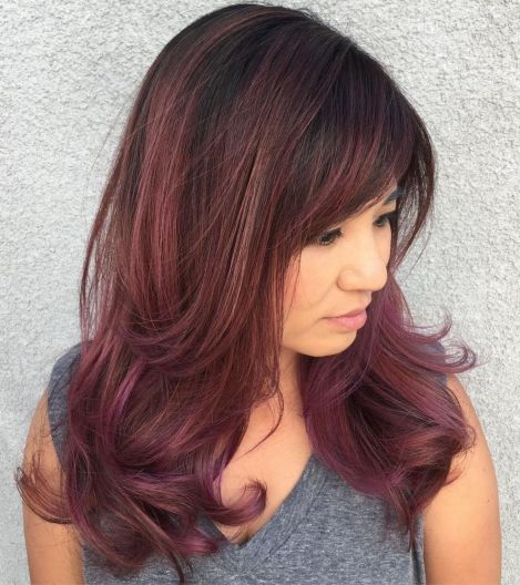 Burgundy hairstyle with bangs
