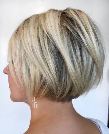 Jawlength layered blonde bob