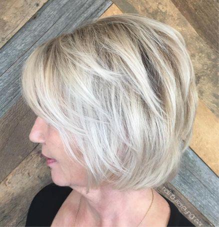 Over 50 ash blonde balayage bob