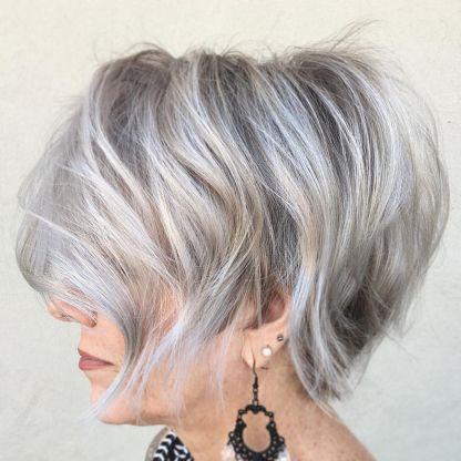 Tousled gray balayage bob 50