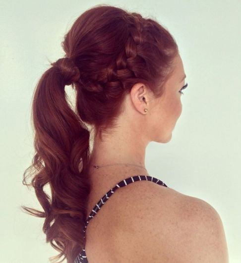 Braided updo hairstyle for thin hair
