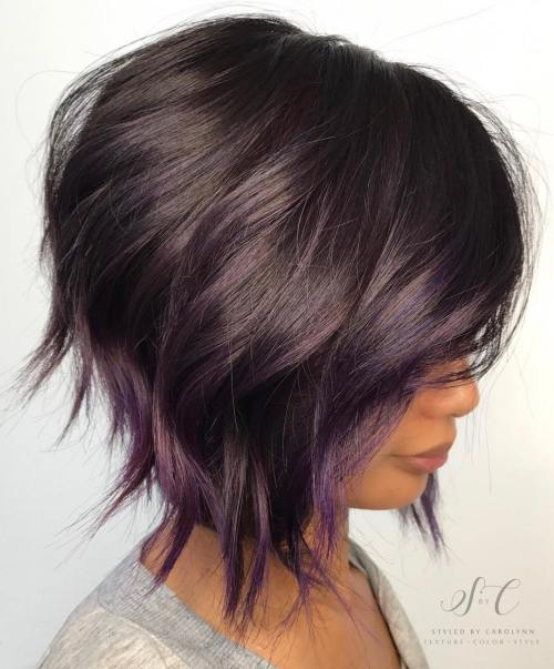 Brown bob with subtle purple balayage