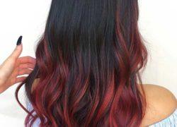 Burgundy Red Balayage On Black Hair