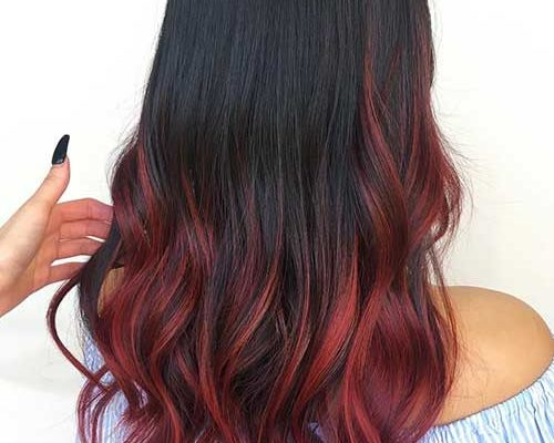 Burgundy Red Balayage On Black Hair