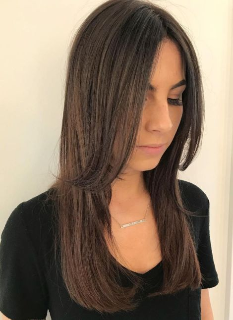 Centreparted layered cut for long hair