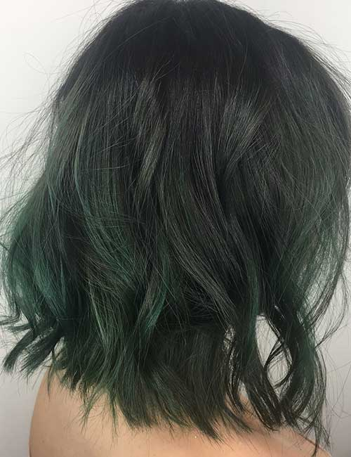Green Hued Balayage On Black Hair