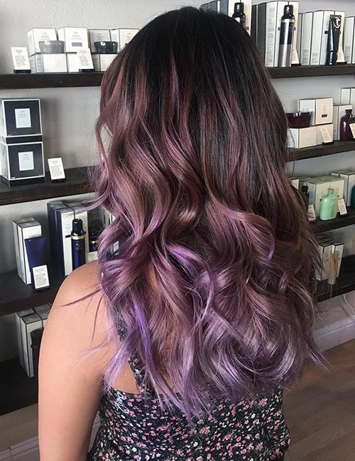 Lavender Balayage On Black Hair