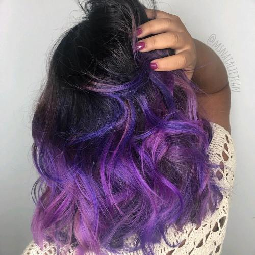 Lavender and purple balayage