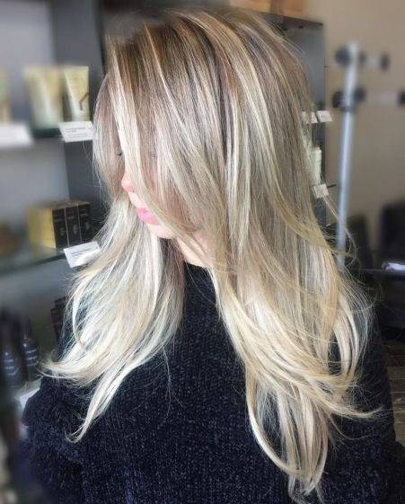 Layered ash blonde balayage hair