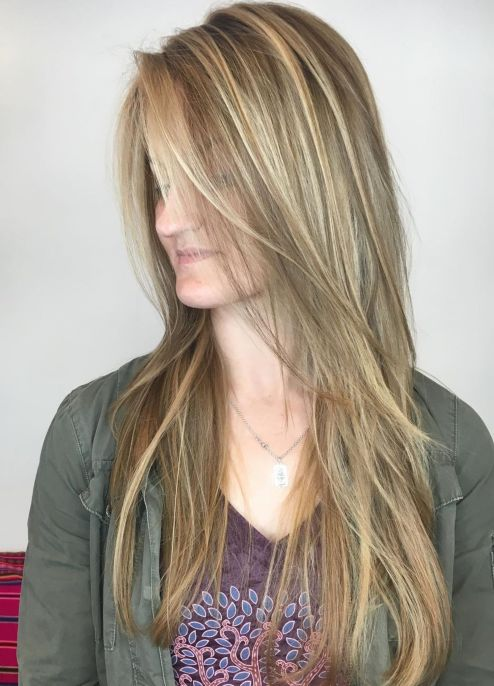 Layered hairstyle for long straight hair