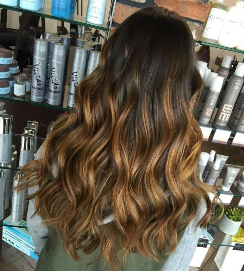 Long golden brown balayage hair