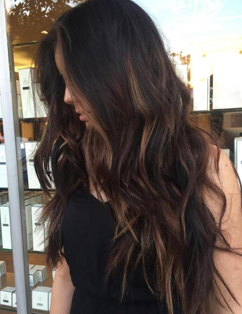 Long hair with subtle caramel balayage