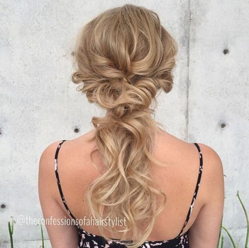Low blonde ponytail updo