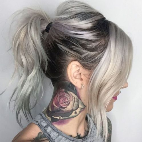 Messy ponytail for layered hair