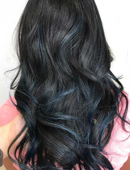 Streaked Blue Balayage On Black Hair