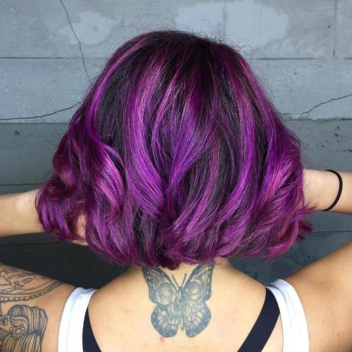 Violet balayage bob for brunettes