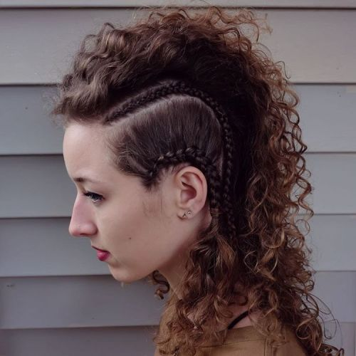 Curly mohawk with side braids