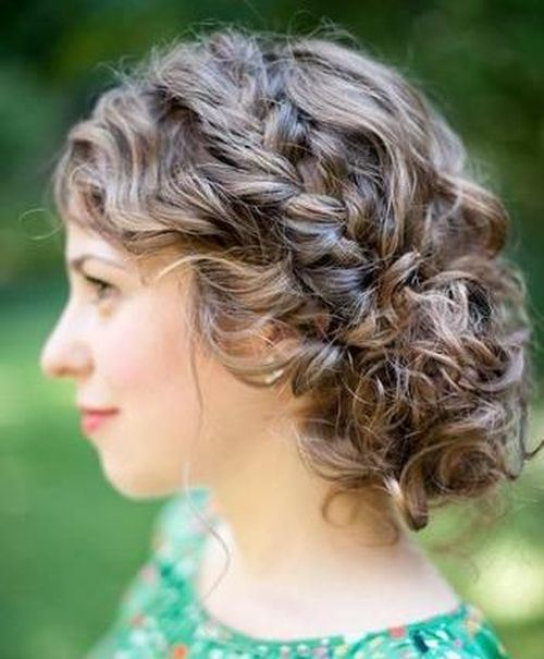 Medium Curly Updo Hairstyle with Braid and Messy