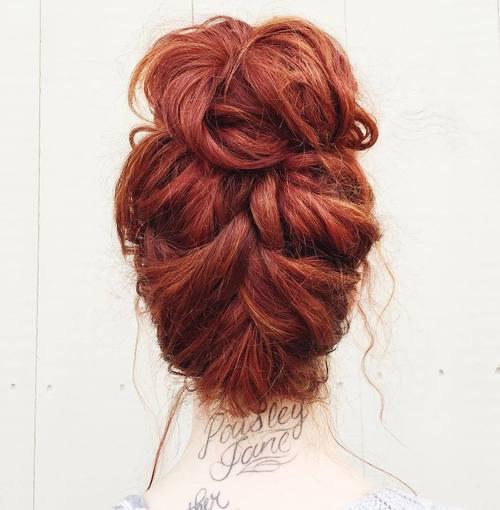 Messy braid into bun updo