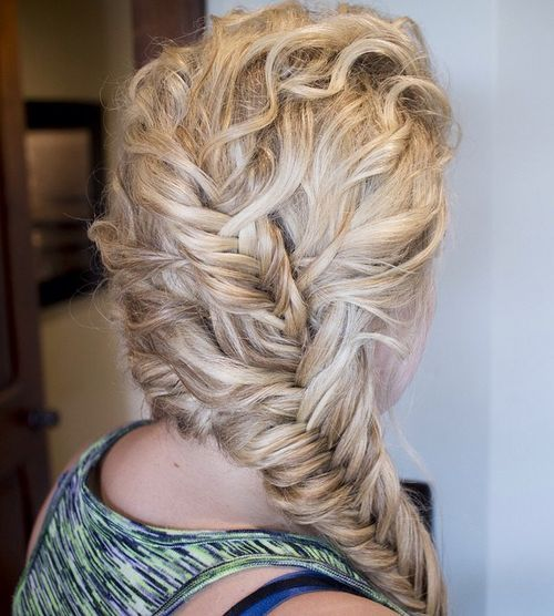 Side fishtail for curly hair