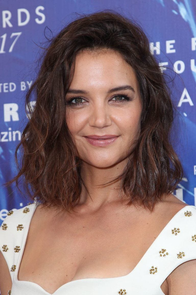 katie holmes short curly haircuts for round faces