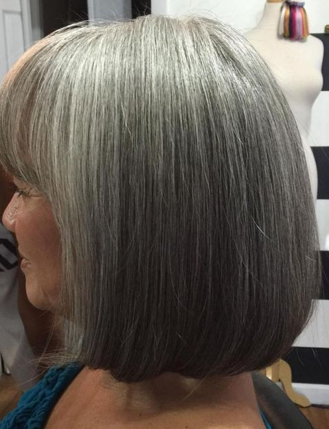 Gray bob with bangs