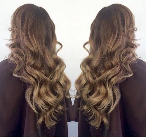 Long Natural Brown Blonde Waves
