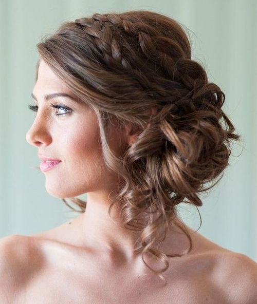 Low side bun with double braid