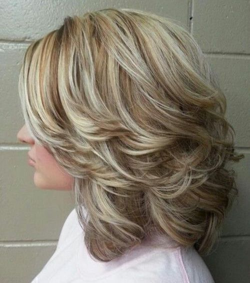 Medium curly hairstyles with highlights and back swept layers