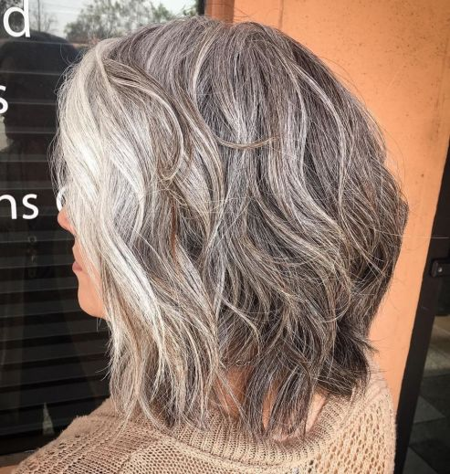 Medium natural looking gray hair