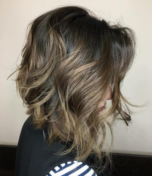 Messy brown balayage bob